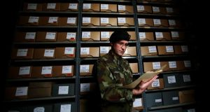 Cmmt Padraic Kennedy studies files in the reading room at Cathal Brugha Barracks in Dublin. The first launch of the Military Service Pensions Collection  comprised 452,000 images relating to almost 3,000 individuals.