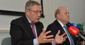 Klaus Regling, managing director of the European Stability Mechanism with Michael Noonan, Minister for Finance: procedures to allow direct bank recapitalisation were still under development. Photograph: Alan Betson / The Irish Times