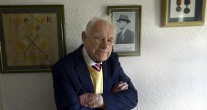 Liam Keogh (95) is one of the last surviving children of Easter Rising veterans and has kept his father's copybook for more than 50 years. Photograph: Brenda Fitzsimons/The Irish Times