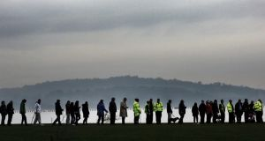 Volunteers help in the search for missing three year old Mikaeel Kular in the Granton area of Edinburgh. Photograph: David Cheskin/PA Wire