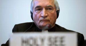 The Vatican's UN Ambassador Monsignor Silvano Tomasi, prior to the start of a questioning over clerical sexual abuse of children at the headquarters of the UN's office of the High Commissioner for Human Rights (OHCHR) in the Palais Wilson, in Geneva. Photograph: Martial Trezzini/EPA.