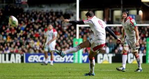 Ulster's Ruan Pienaar kicks a penalty at Welford Road. Photograph: Andrew Fosker/Inpho
