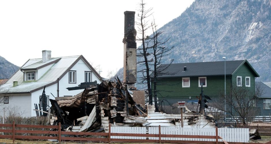 Blaze burns historic Norway homes