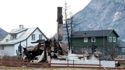 Historic buildings burnt after fire swept through the wooden houses in the town of Laerdalsoyri, Laerdal, Norway. Photograph: Marit Hommedal Norway Out/EPA