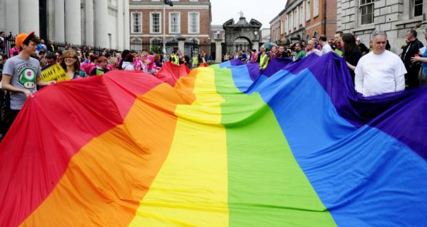 Participants in the fourth annual LGBT march through Dublin in support of same-sex marriage. Photograph: Aidan Crawley