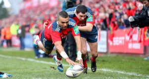 Srumhalf Conor Murray's feed sends Simon Zebo over for a simple finish in the left corner in yesterday's Heineken Cup game at Thomond Park. Photograph: Billy Stickland/Inpho