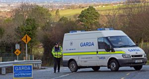 A Garda roadblock yesterday near where the body of a man was found at  Bohernabreena Road, Tallaght, Co Dublin. Photograph: Eric Luke/The Irish Times