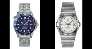 The stolen watches. On the left the Omega Seamaster which is engraved with the message: 'Senan, Love Daddy x'. The other watch, an Omega Constellation carries the enscription: 'Keelan, Love Daddy x'.