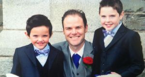 Stephen Carroll  pictured with his sons  Keelan (left) and  Senan.
