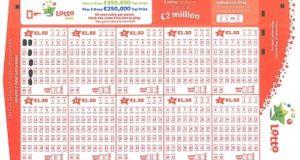 This Lotto playslip  shows the  uniform pattern all of the six winners would have had to fill out in order to win at the weekend.