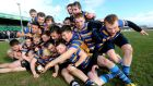St Endas College, Galway, celebrate winning the Connacht Senior Development Schools Cup last year. Photograph: James Crombie