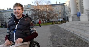 Former lifeguard and windsurferJack Kavanagh was paralysed from the chest down after a swimming accident  in 2012, and is back in Trinity College Dublin, where he is studying pharmacy. Photograph: Dara Mac Dónaill