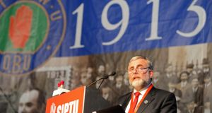 Jack O'Connor of Siptu commemorating the struggles of a century ago. Any attempt to lock unions out of decision-making processes now would be ill-advised. Photograph: Eric Luke
