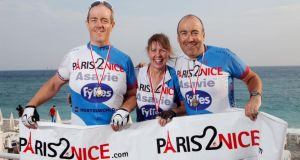 Pictured at the end of last year's Paris2Nice cycle were, left to right, Ronan Holahan, Maria Supple and Paddy Holahan.