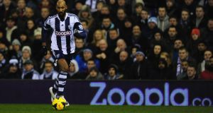 West Brom player Nicolas Anelka (right) has been charged by the FA. Photograph:  Stu Forster/Getty Images