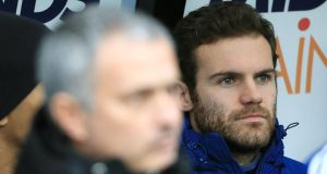 Chelsea's Juan Mata (right) and manager José Mourinho (left) have not seen eye to eye this season. Photograph: Nick Potts/PA Wire