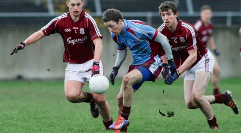 Connacht FBD League: In Tuam Stadium,  Galway beat GMIT 013 to 0-6. In other fixtures, Roscommon beat Mayo 1-10 to 1-8; Leitrim drew with Sligo 1-12 to 2-9; and IT Sligo saw off NUI Galway 1-13 to 0-8. Roscommon and Leitrim will play in the final.  GMIT's Michael Lundy comes under pressure from Galway's Donal O''Neill and Joss Moore. MooreMike Shaughnessy