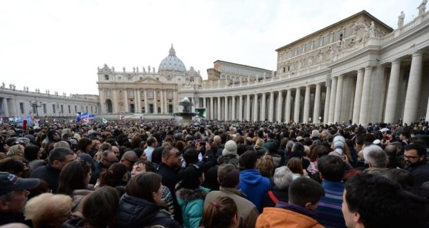 "Crowds gather at  St Peter's Square in the Vatican at the weekend.   One senior Vatican figure has said the reopening of an Irish Embassy to the Holy See will  mark ""the end of a painful period"" in relations. Photograph: Maurizio Brambatti/EPA"