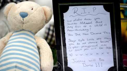 Tributes near the home of three  year old Mikaeel Kular. Police have secured a bungalow in Dunvegan Acenue in Kirkcaldy where a young boy's body believed to be. Photograph: Jeff J Mitchell/Getty Images