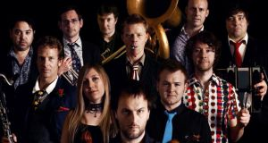 Jon Boden (front and centre) of Bellowhead: 'It's easier to find a good Irish session than a good English one. We don't have that repertoire of tunes you'll get at an Irish session'