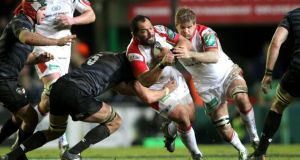 John Afoa of Ulster crashes into Leicester's Graham Kitchener in the Heineken Cup game at Welford Road. Photograph: Andrew Fosker/ Inpho/Presseye