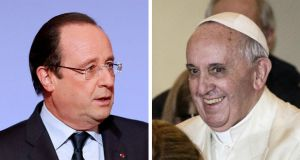 French President François Hollande and Pope Francis: what will the two men have to say to one another? Photographs: EPA