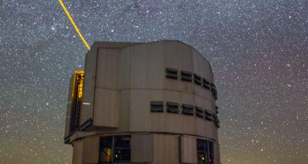 The laser guide star in operation at the Very Large Telescope. Photograph: Barbara McCarthy