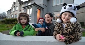 Emma Carty with her children, Riley (3), Jared (3 months) and Althea (6), at their home in Kimmage. Photograph: Alan Betson
