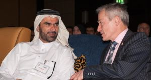 """Major deals, which lead to tangible increases in exports and jobs in Ireland, are very often commenced or concluded on these missions."" Minister for Jobs, Enterprise and Innovation Richard Bruton meets Dr Faleh Mohamed Hussain Ali, assistant secretary general for policy affairs at Qatar's Supreme Council of Health. Photograph: Lydia Shaw"
