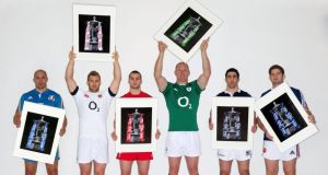 The Six Nations captains (L-R) Sergio Parisse of Italy, Chris Robshaw of England, Sam Warburton of Wales, Paul O'Connell of Ireland, Kelly Brown of Scotland and Pascal Pape of France. Photograph:  Billy Stickland/Inpho