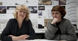 Yvonne Farrell (left) and Shelley McNamara of Grafton Architects. Photographs: Alice Clancy and James Harris/Royal Academy of Arts London