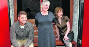"Keith Duffy, Garry Hynes and Aisling O'Sullivan in Galway for the first day of rehearsals for Druid's ""Big Maggie"" by John B Keane in February 2011. Hynes is to become adjunct professor at NUIG."