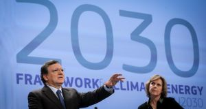 European Commission president José Manuel Barroso and European climate action commissioner Connie Hedegaard present the 2030 Framework for Climate and Energy at the European Commission headquarters in Brussels yesterday. Photograph: Olivier Hoslet/EPA