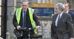 Dublin city manager Owen Keegan arrives at the Dáil to give evidence to the Oireachtas environment committee about the Pool Beg Incinerator. Photograph: Alan Betson