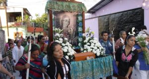 Relatives of Mexican inmate Edgar Tamayo Arias walk in a procession in Miacatlan, Mexico. Edgar Tamayo Arias was executed by lethal injection in Texas, USA, on 22 January despite protests from Mexico and objections by the US State Department, after a last minute appeal to the US Supreme Court was turned down. Arias was sentenced to death for the killing of a police officer in 1994. Photograph: EPA/Roberto Sanchez