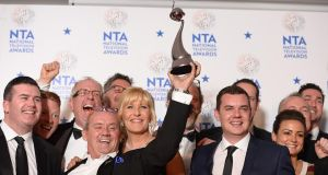 Brendan O'Carroll and Jennifer Gibney with the award for best Comedy at the 2014 National Television Awards at the O2 Arena in London last night.  Photograph: PA