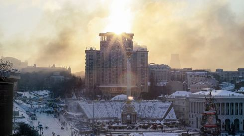 Smoke from burning tyres blanket Independence Square with pro-European integration protesters camped there in central Kiev. Photograph: Gleb Garanich/Reuters