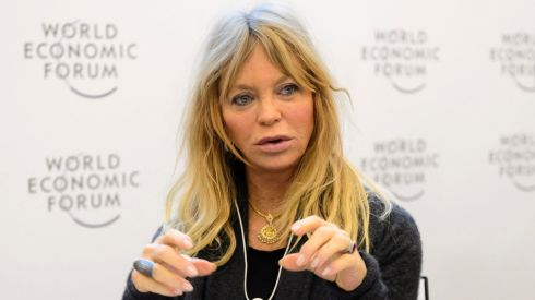 US actress Goldie Hawn speaks during a panel session on the second day of the World Economic Forum, WEF, in Davos, Switzerland. Photograph: Laurent Gillieron/EPA