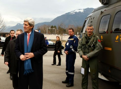 US Secretary of State John Kerry departs Montreux, Switzerland for Davos. Photograph: Gary Cameron /Reuters