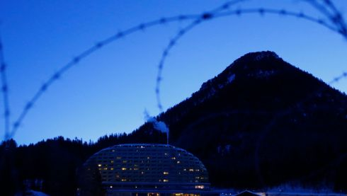 A helicopter pad is seen in the early morning in front of the InterContinental Hotel before the start of the annual meeting of the World Economic Forum (WEF) 2014 in Davos . Photograph: Ruben Sprich/Reuters