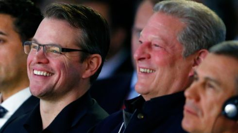 Matt Damon (L), actor and co-founder of Water.org, laughs next to former US vice-president Al Gore at the annual meeting of the World Economic Forum (WEF). Photograph: Denis Balibouse/Reuters