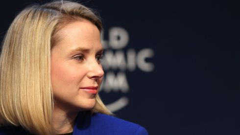 Marissa Mayer, chief executive officer of Yahoo! pauses during a session on the opening day of the World Economic Forum (WEF). Photographer: Chris Ratcliffe/Bloomberg