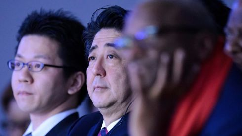 Japanese prime minister Shinzo Abe, (C), listens a panel session  on the first day of the 44th Annual Meeting of the World Economic Forum, WEF, in Davos, Switzerland. Photograph: Laurent Gillieron/EPA