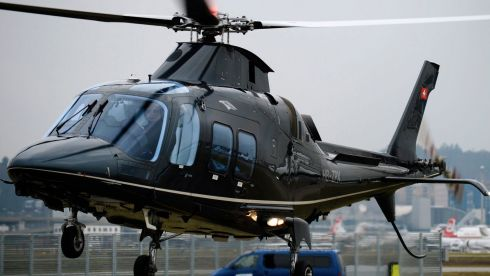 A helicopter lands at Zurich airport, Zurich, Switzerland, as attendees arrive for the first day of the 44th Annual Meeting of the World Economic Forum, WEF, in Davos. Photograph: Steffen Schmidt/EPA