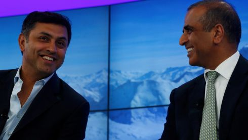 Nikesh Arora , senior vice-president and chief business officer of Google chats with Sunil Bharti Mittal, chairman of Bharti Enterprises (R) during a session at the annual meeting of the World Economic Forum (WEF) in Davos. Photograph: Denis Balibouse/Reuters