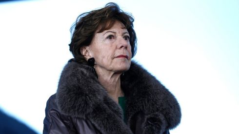 Neelie Kroes, competition commissioner for the European Union, pauses during a television interview on the opening day of the World Economic Forum (WEF) in Davos, Switzerland. Photograph: Simon Dawson/Bloomberg