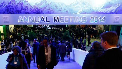 Participants break for lunch between sessions during the annual meeting of the World Economic Forum (WEF) in Davos. Photograph: Ruben Sprich/Reuters