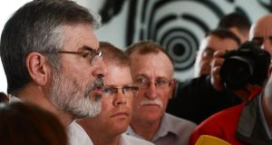 Peadar Toibin (centre), seen here beside Sinn Fein president Gerry Adams (right) and  Dessie Ellis, is to rejoin the party after a six-month suspension.