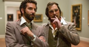 """Does my collar look big in this?"" Bradley Cooper and Christian Bale  in American Hustle"