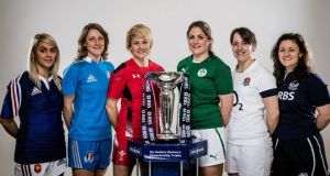 At the press conference promoting this year's  RBS Women's Six Nations Rugby Championship at the Hurlingham Club, in London,were, left to right, Marie Alice Yahe of France, Silvia Gaudino of Italy, Philippa Tuttiett of Wales, Fiona Coghlan of Ireland, Katy McLean of England and Tracey Balmer of Scotland. Photograph: Billy Stickland/Inpho